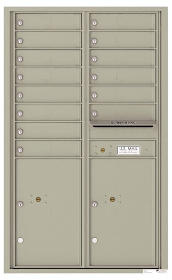4C14D-14 Front Loading Private Use Commercial 4C Mailboxes – 14 Tenant Doors 2 Parcel Lockers