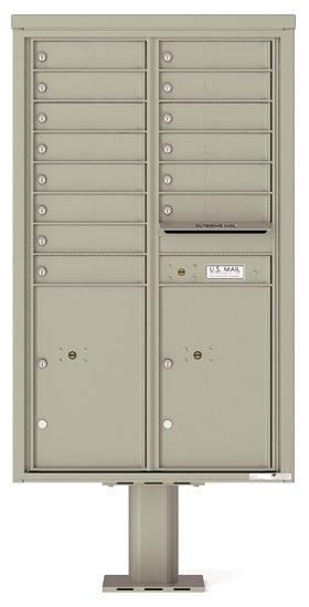 4C14D-14-P Commercial 4C Pedestal Mailboxes – 14 Tenant Doors 2 Parcel Lockers