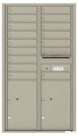 4C15D-16 Front Loading Commercial Surface Mount 4C Mailboxes – 16 Tenant Doors 2 Parcel Lockers