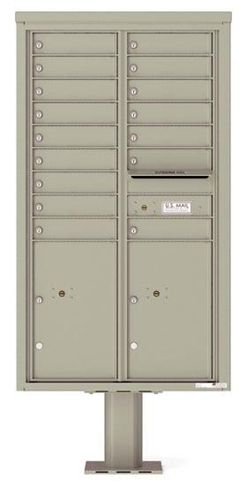 4C15D-16-P Commercial 4C Pedestal Mailboxes – 16 Tenant Doors 2 Parcel Lockers