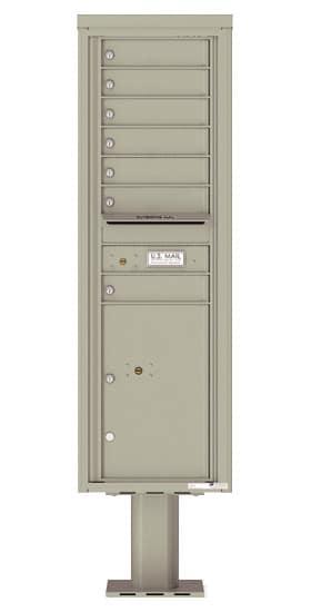 4C15S-07-P Commercial 4C Pedestal Mailboxes – 7 Tenant Doors 1 Parcel Locker