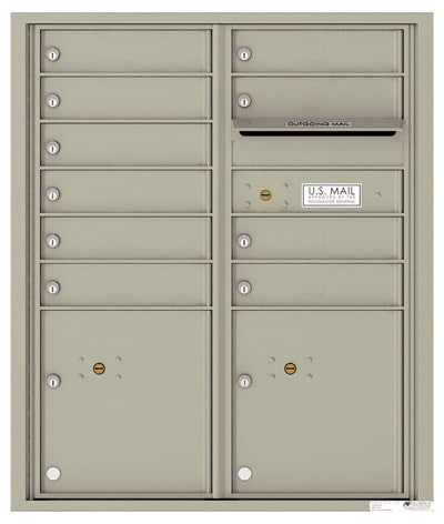 4CADD-10 Front Loading Private Use Commercial 4C Mailboxes – 10 Tenant Doors 2 Parcel Lockers