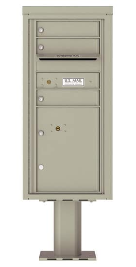 4CADS-03-P Commercial 4C Pedestal Mailboxes – 3 Tenant Doors 1 Parcel Locker Product Image
