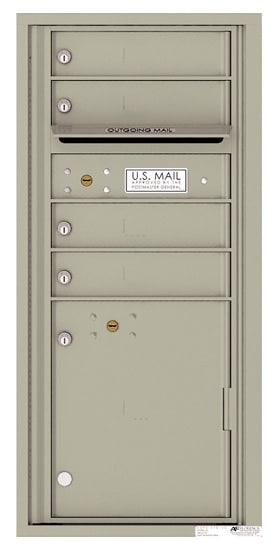 4CADS-04 Front Loading Commercial Surface Mount 4C Mailboxes – 4 Tenant Doors 1 Parcel Locker