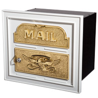 Gaines Classic Faceplate Mailbox White Brass