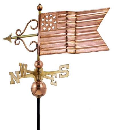 Good Directions Copper American Flag Weathervane