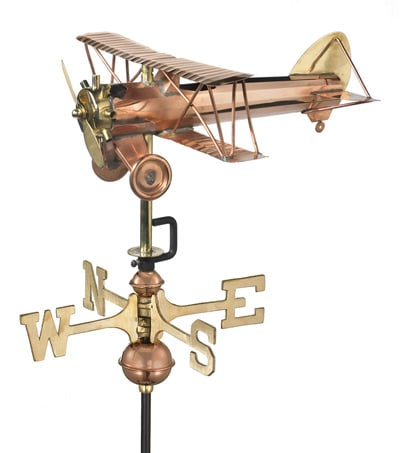 Good Directions Copper Biplane Cottage Weathervane