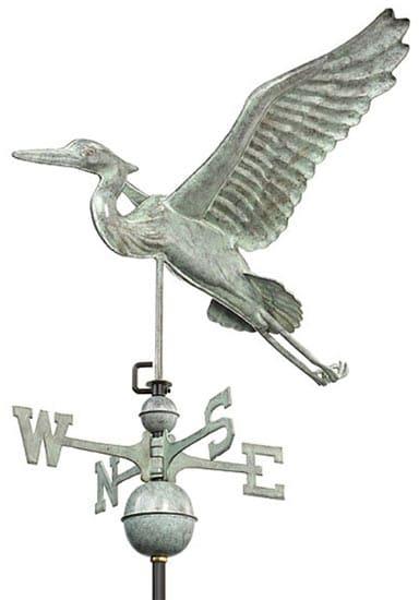 Good Directions Copper Blue Heron Weathervane