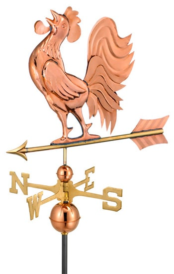 Good Directions Copper Crowing Rooster Weathervane