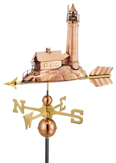 Good Directions Copper Lighthouse Weathervane