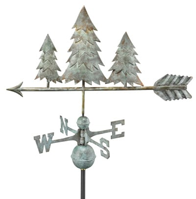 Good Directions Copper Pine Trees Weathervane