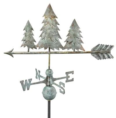 Good Directions Copper Pine Trees Weathervane