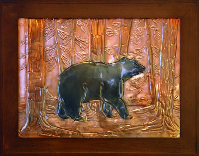 Hentzi Framed Copper Bear Fireplace Art