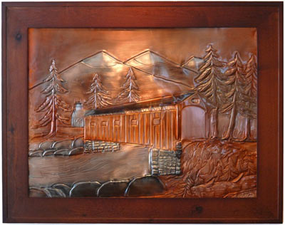 Hentzi Framed Copper Bridge Fireplace Art
