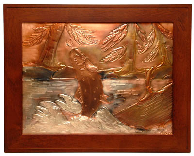 Hentzi Framed Copper Brown Trout Art