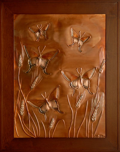 Hentzi Framed Copper Butterflies Fireplace Art