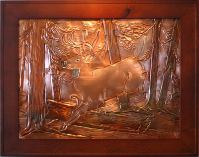 Hentzi Framed Copper Running Stag Art
