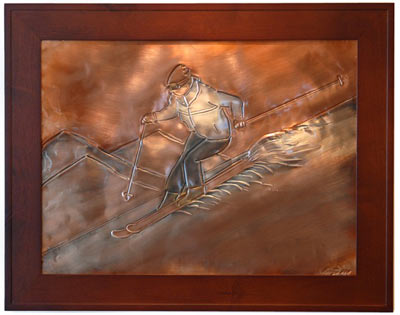 Hentzi Framed Copper Skier Fireplace Art