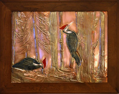 Hentzi Framed Copper Woodpecker Fireplace Art