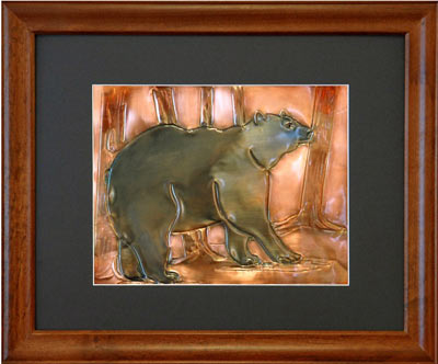 Hentzi Framed Copper Bear Art