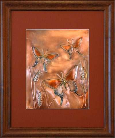 Hentzi Framed Copper Butterflies Art