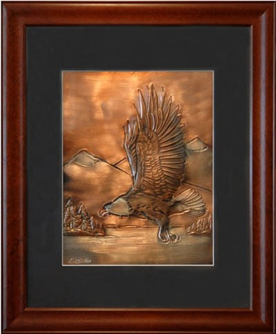 Hentzi Framed Copper Eagle Art