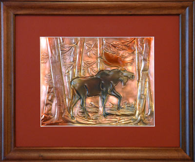 Hentzi Framed Copper Moose Art