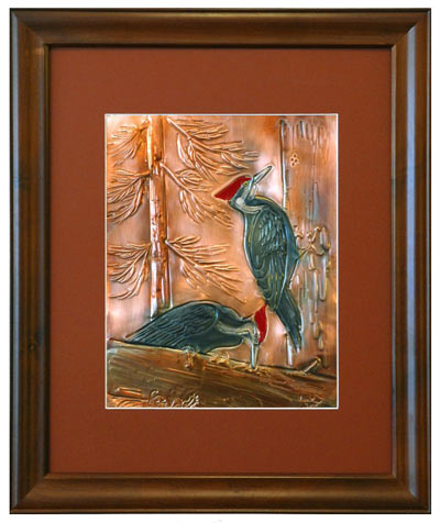 Hentzi Framed Copper Woodpecker Art