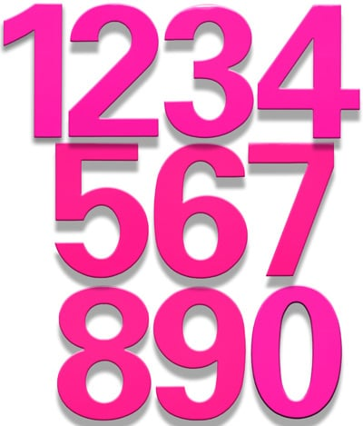 HouseArt 6 Inch House Numbers in Bougainvillea Pink
