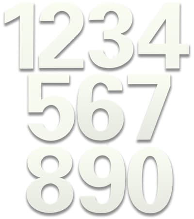 HouseArt 6 Inch House Numbers in Marshmallow White