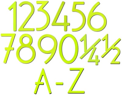 Key Lime Finish 8 Inch House Numbers and Letters