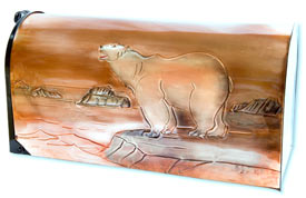 Hentzi Rural Copper Mailbox Polar Bear