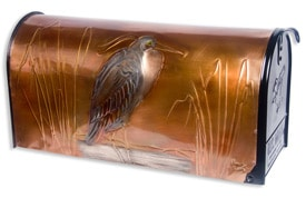 Hentzi Rural Copper Mailbox Heron