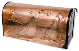 Hentzi Rural Copper Mailbox Lighthouse Sailboats