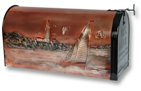 Hentzi Rural Mailbox Portland Lighthouse Sailboat