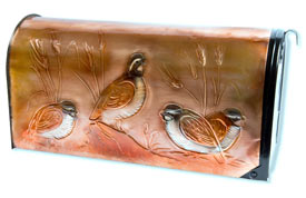 Hentzi Rural Copper Mailbox Quail Covey