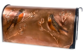 Hentzi Rural Copper Mailbox Robins