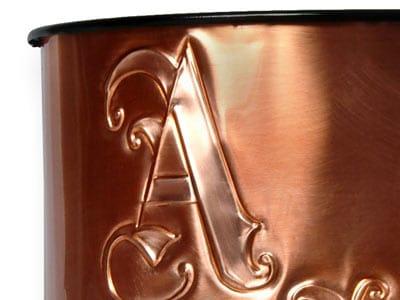 Victorian Monogram Waste Basket Close Up