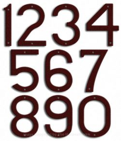 Large Burgundy House Numbers Majestic 10