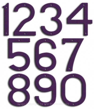 Large Deep Purple House Numbers by Majestic 10 Inch