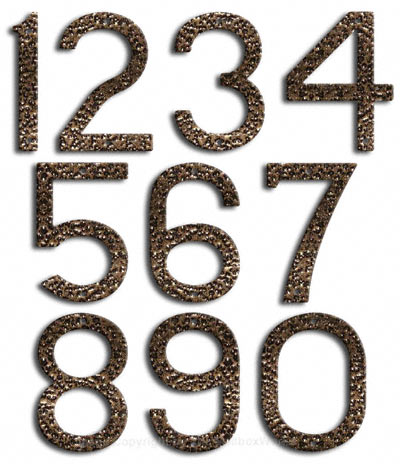 Large Gold Vein House Numbers Majestic 10