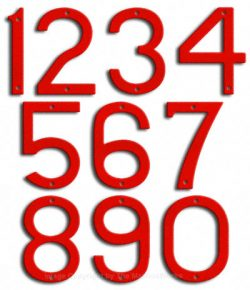 Large Ruby Red House Numbers Majestic 10
