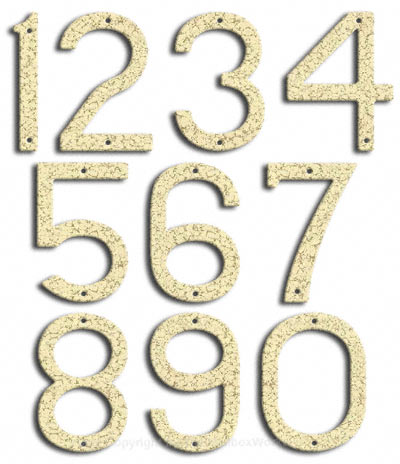 Large White Vein House Numbers Majestic 10