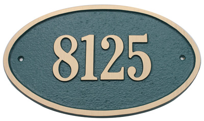 Majestic Solid Brass Large Oval Address Plaques