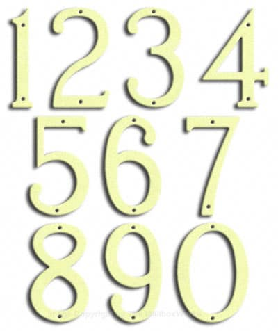 Medium Brilliant White House Numbers by Majestic 8 Inch