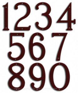 Medium Burgundy House Numbers Majestic 8