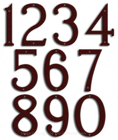 Medium Burgundy House Numbers Majestic 8