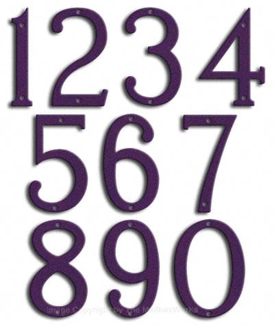 Medium Deep Purple House Numbers Majestic