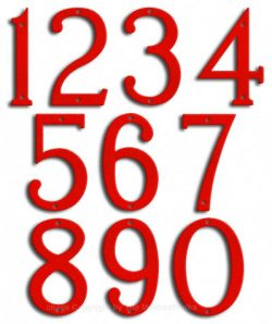Medium Ruby Red House Numbers Majestic