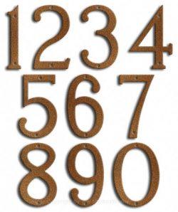 Medium Rust House Numbers Majestic 8